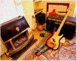 colour photo bedroom with bass guitar