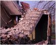colour photo student flat partly demolished