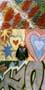 three colour photos coloured graffiti on walls with child