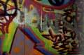 colour photo painted graffiti on railway bridge