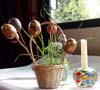 Wheat shoots and eggs basket display