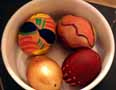 Painted eggs in bowl