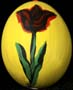 Yellow egg with deep red flower