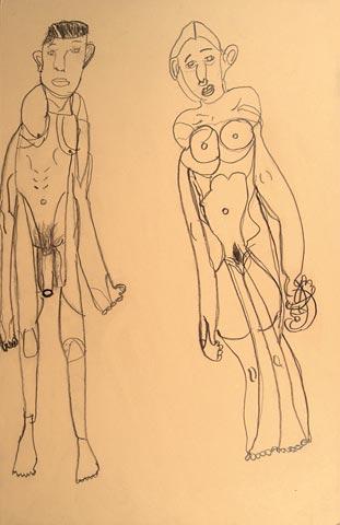 man woman nude life model naked