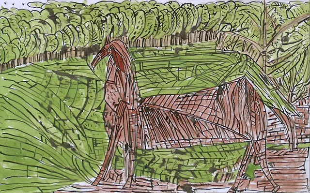horse woods trees countryside nature animal