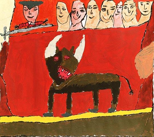 bull spain matador bull fighting fighter horns sword arena audience crowd