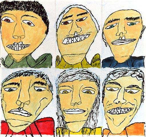 six head portraits men people