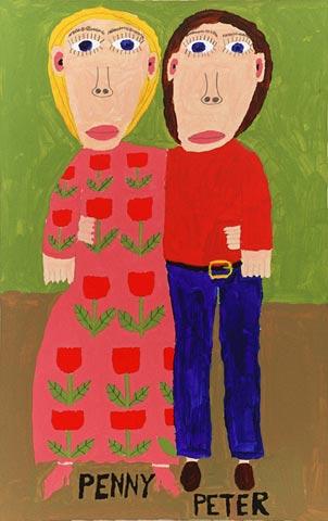 couple man woman penny peter portrait flowers