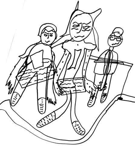 Sketch drawn during rehearsals for the performance for Faustus